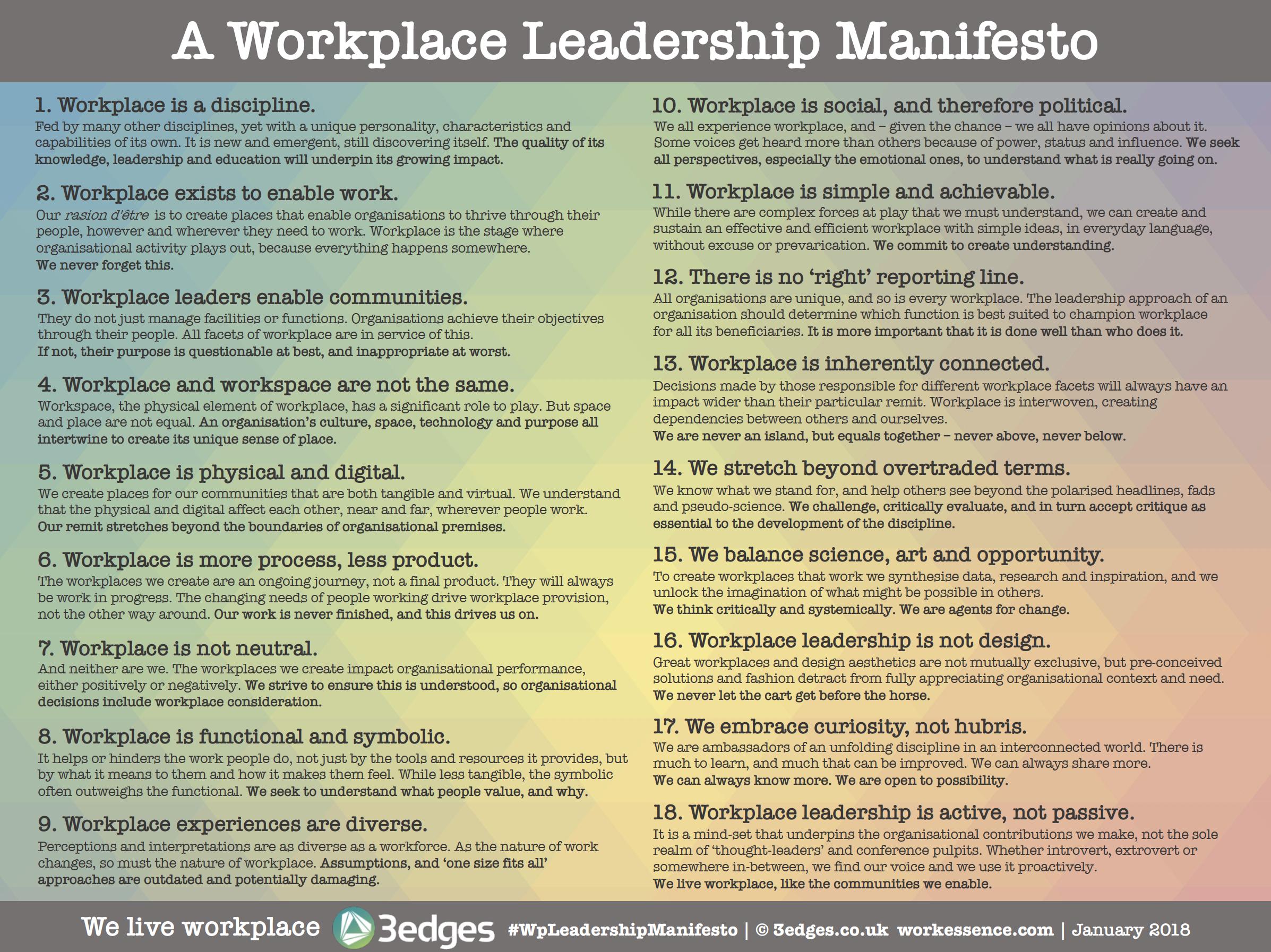 Workplace Leadership Manifesto | January 2018