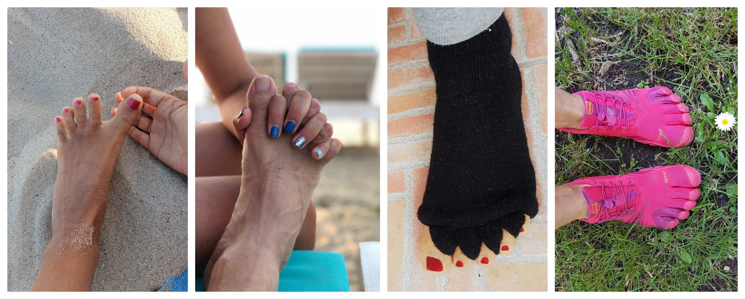 """1) Подръпване на палеца далеч от другите пръсти. Комбинирай с всякакво раздвижване и размачкване на палеца и стъпалото. 2) """"Кракостискане"""". 3) My Happy Feet socks - чорапчета, които разделят пръстите. 4) Vibram Five Fingers - минималистични обувки, които разделят пръстите. Не разполагам с разделители, които да покажа, но има много реклами на такива и могат да се видят и намерят."""