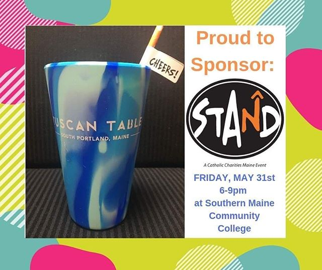 Join us at Catholic Charities STAND fundraiser & you'll get this cool Silipint tumbler with our name on it!  Tickets at www.ccmaine.org/STAND support services for children, seniors, refugees & immigrants, mental health, addiction treatment and ending hunger!  We hope you'll STAND with us in support & enjoy an evening of beer & wine tasting, yummy food, live music, silent auction & raffles all for a great cause! @catholiccharitiesmaine