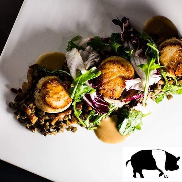 Fridays we like to do the cooking. Well, really every night! Come by and enjoy one of our stunning seafood dishes to kick off your Memorial Day Weekend!  pan seared scallops | crispy pancetta | black truffle | beluga lentils | balsamic aioli  #scallops #tgif #memorialday #searedtoperfection #tuscantable #southportland #maine #freeparking  Visit our sister restaurants: @royalrivergrillhouse @tuscanbrickovenbistro