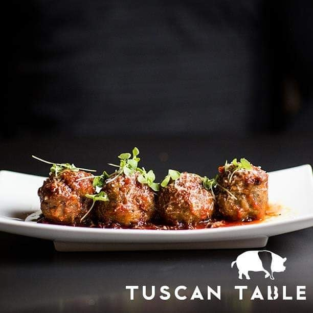 Meatball Monday!! Pop in for a taste of these succulent morsels of ground pork and beef, currant agrodolce, fresh mozzarella, organic basil and grana padano!  #meatballmonday #smallplates #alltomyself #tuscantable #southportland #maine #freeparking  Visit our sister restaurants: @royalrivergrillhouse @tuscanbrickovenbistro