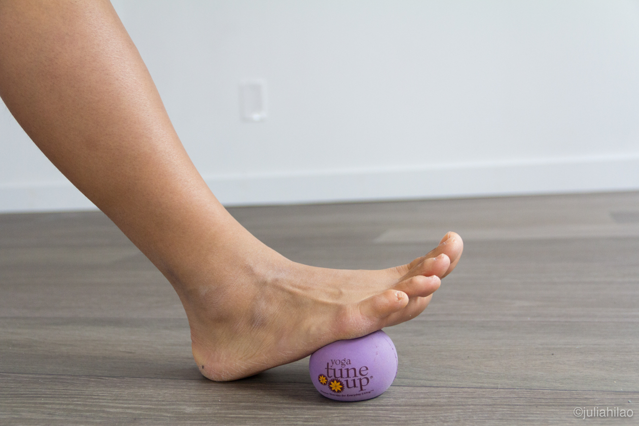 Roll the feet out - Rolling the fascia out in the sole of the foot (for 5-10 minutes with each foot) will surprisingly enhance in lengthening the tendons and muscles in the backs of the legs.