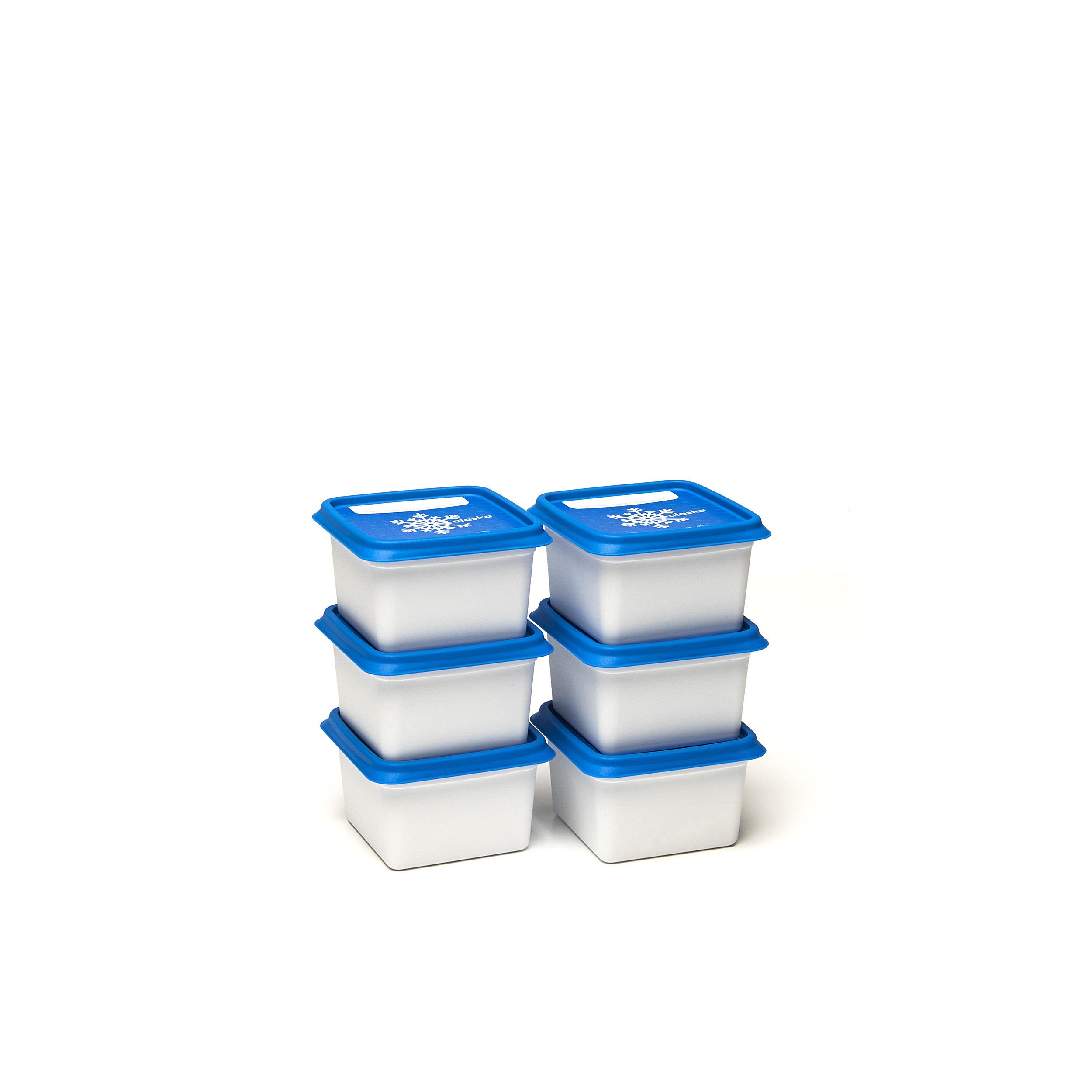 Alaska® 200ml (set1x6) - .... Got lots to freeze? Then these Alaska® freezer boxes will be a great help. They will save space in your freezer, can be stacked on top and inside each other. You can find them in every format imaginable and can easily write the contents on the outside. Dirty? Pop them in the dishwasher and they will be as good as new. .. Beaucoup d'aliments à congeler ? Ces boîtes de congélation Alaska® sont faites pour cela. Elles vous font gagner de la place dans votre congélateur, sont empilables mais aussi emboîtables. Disponibles dans tous les formats imaginables, on peut aussi y mentionner le contenu facilement. Sales ? Mettez-les dans le lave-vaisselle et elles en sortiront comme neuves. .. Veel in te vriezen? Dan zijn deze Alaska®-vriesdozen jouw redder in nood. Ze besparen plek in je diepvriezer, zijn stapelbaar én nestbaar. Je vindt ze in elk denkbaar formaat en schrijft er vlotjes de inhoud op. Vuil? Stop ze in de vaatwasmachine en ze zijn weer als nieuw. .. Sie haben viel zum Einfrieren? Dann sind diese Alaska®-Tiefkühlbehälter Ihr Retter in der Not. Sie sparen Platz im Tiefkühlschrank, sind stapel- und schachtelbar. Es gibt sie in jedem denkbaren Format und sie lassen sich leicht beschriften. Schmutzig? Geben Sie sie in die Spülmaschine und sie sind wieder wie neu. ....