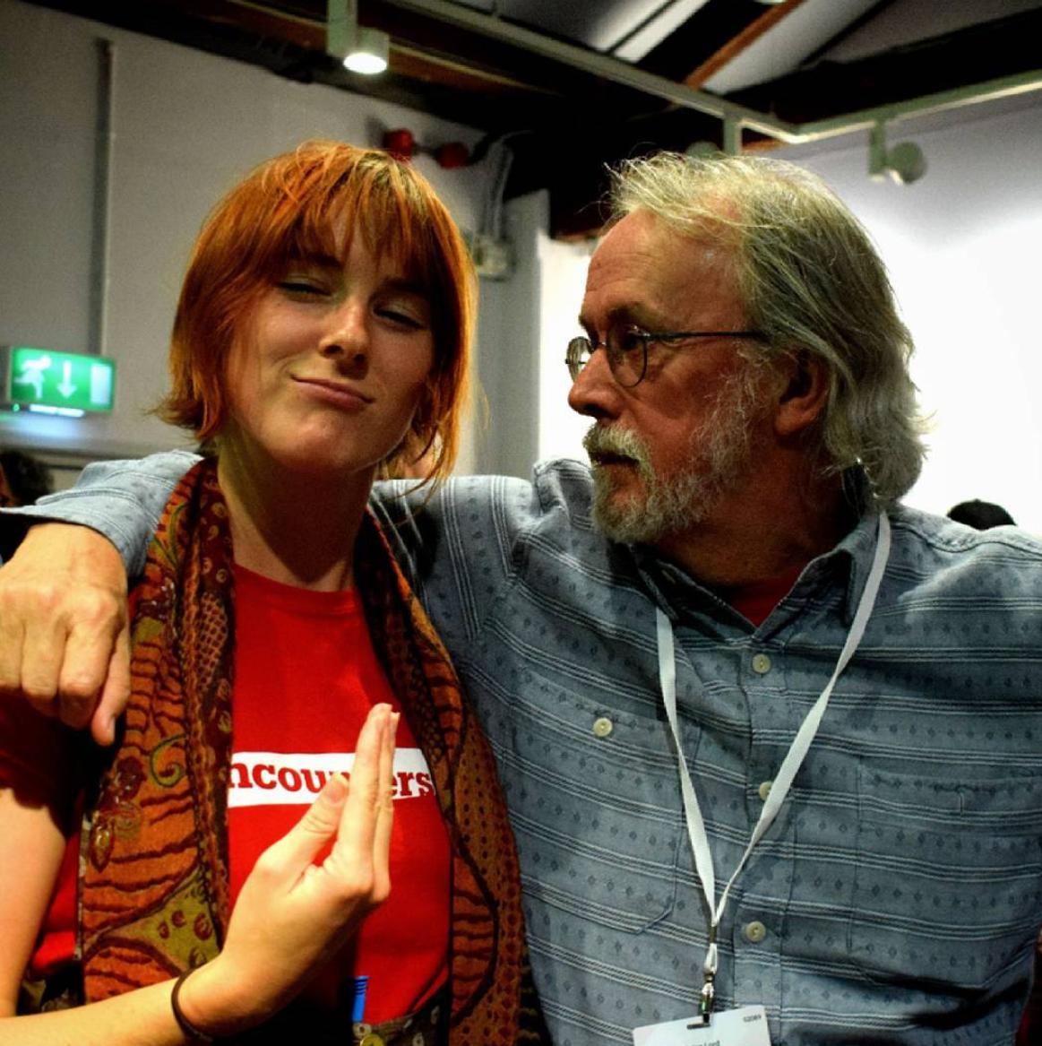 Lila hanging out with  Aardman's  Peter Lord at  Encounters Film Festival.