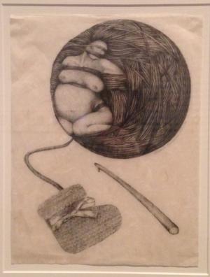 Barbara Carrasco,  Pregnant Woman in a Ball of Yarn,  1978