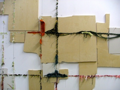 My Broadway Boogie Woogie  (detail), 2010   Drywall, plywood,fabric, metal staples  Photo by Elana Herzog