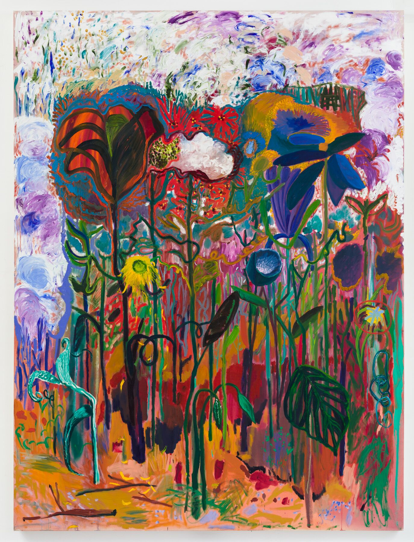 Shara Hughes,  Earthly Delights , 2019, oil and dye on canvas, 94 x 72 inches (238.8 x 182.9 cm). Courtesy of the artist and Rachel Uffner Gallery.