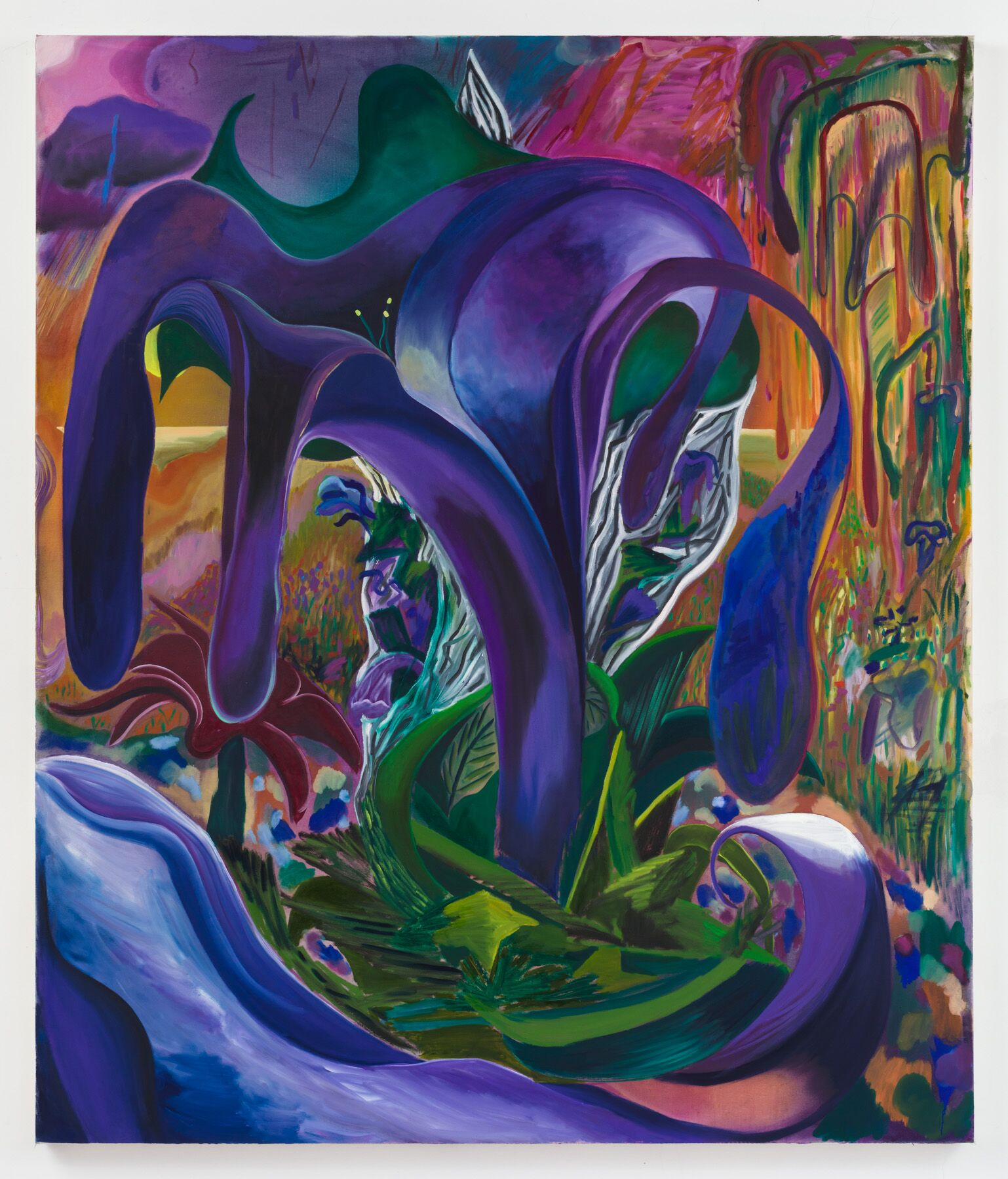 Shara Hughes,  Naked Lady , 2019, oil and dye on canvas, 78 x 66 inches (198.1 x 167.6 cm). Courtesy of the artist and Rachel Uffner Gallery.