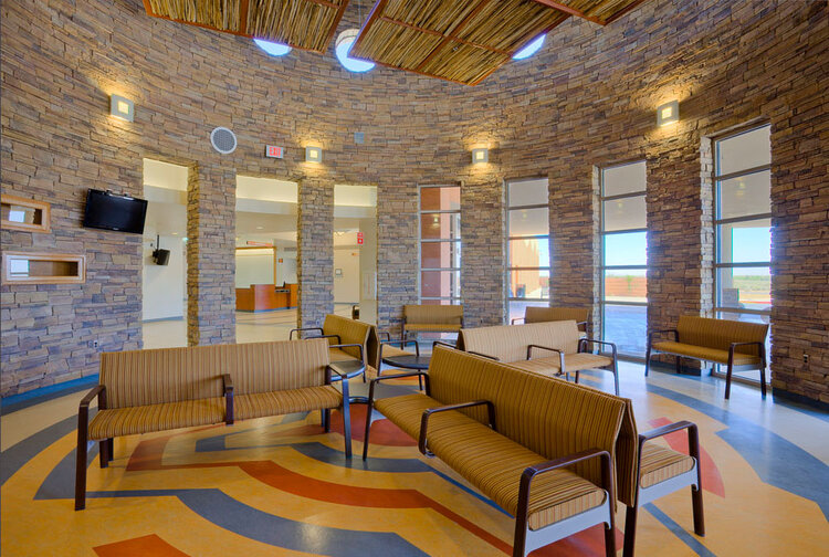 Above and above left: Floor designs from traditional basket patterns for the Komatke Health Care Center, Gila River Health Care Corporation, Chandler, Arizona.