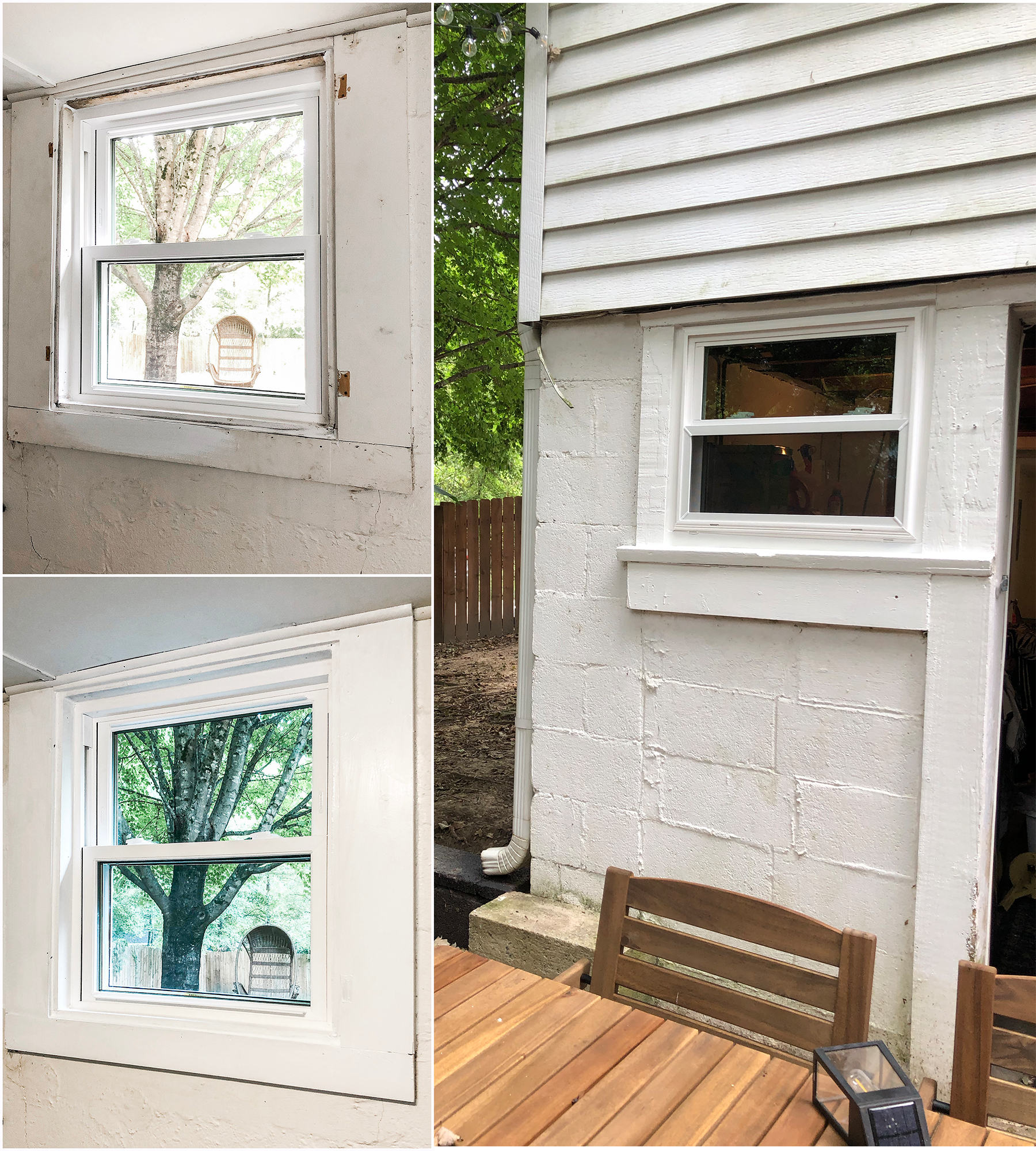 Left: before and after of the window trim being painted, right: how the other windows look on the outside.