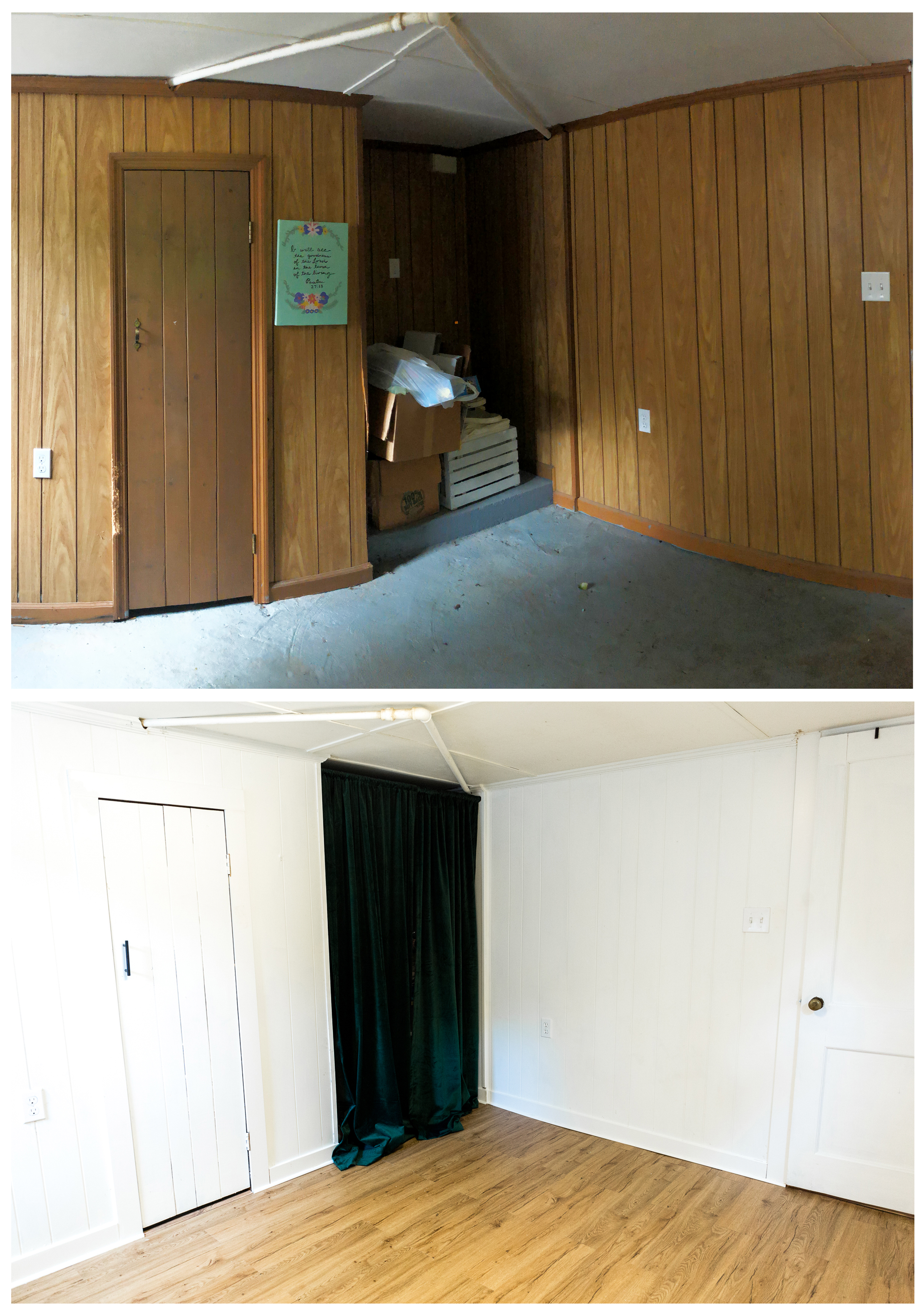 Before/after: Painted the paneling, installed the new floors and trim.