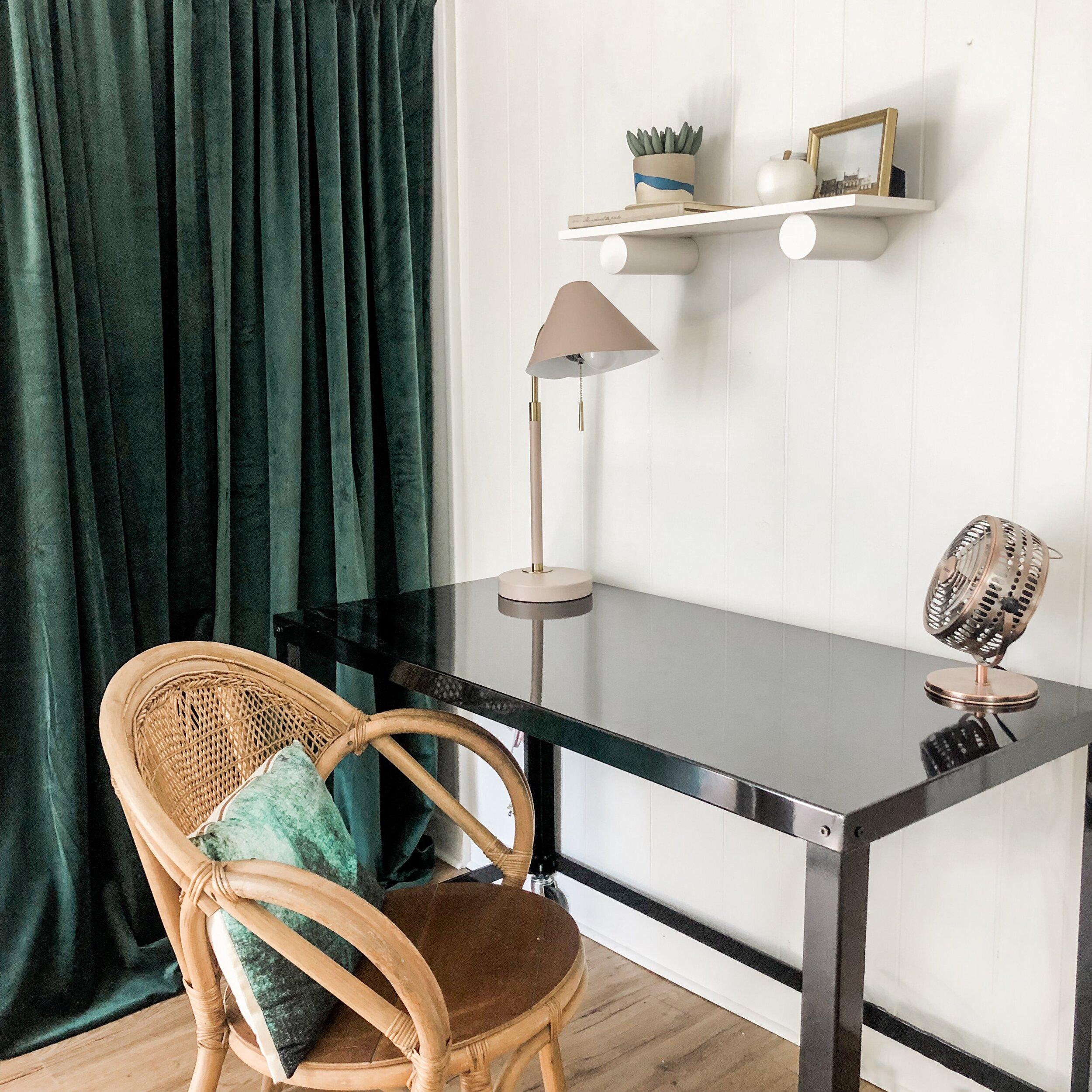 Shelf:  West Elm  Lamp:  West Elm  Curtains: Amazon Desk:  Wayfair