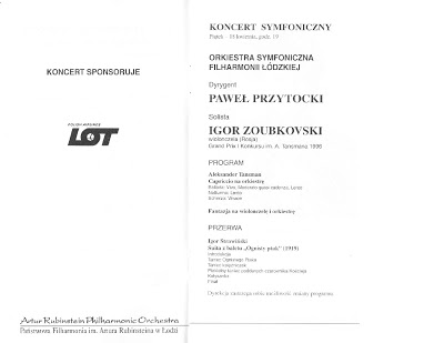 Lodz Philharmonic program