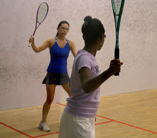 playing in a squash tournament