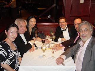 Mo. Fricke (left) with Michelle Kim (violin), Michael Rossi (trumpet), and Placido Domingo