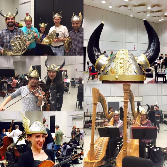 Modelling Valkyrie helmets at a rehearsal