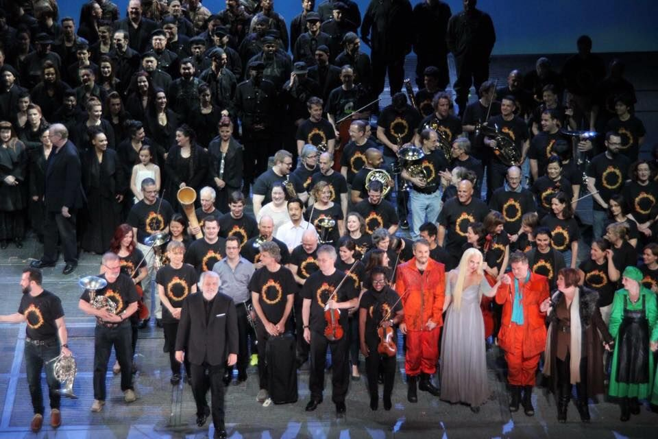 The orchestra, chorus, cast, and Maestro Auguin take an onstage bow after the   Götterdämmerung dress rehearsal
