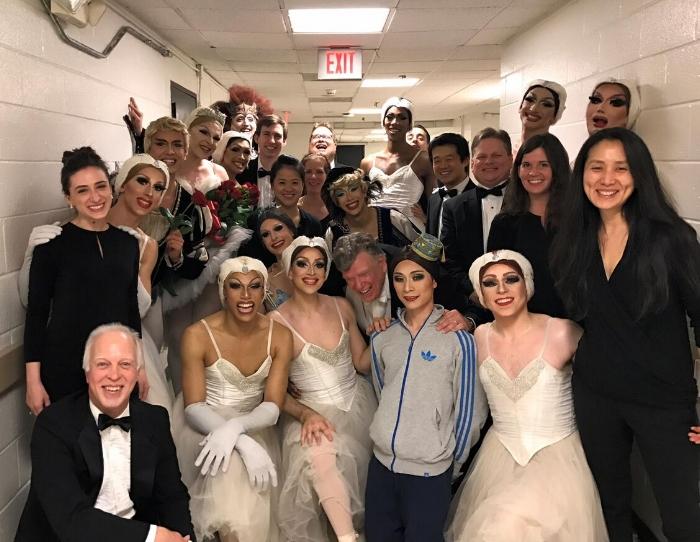 Musicians with dancers of Les Ballets Trockadero de Monte Carlo