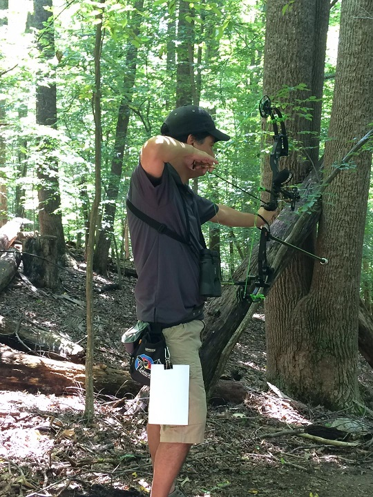 Bob competing at the 2017 VA State 3D Archery Tournament