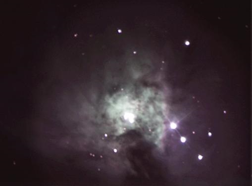 """Photo of the Orion Nebula taken by Bob with his 8"""" telescope."""
