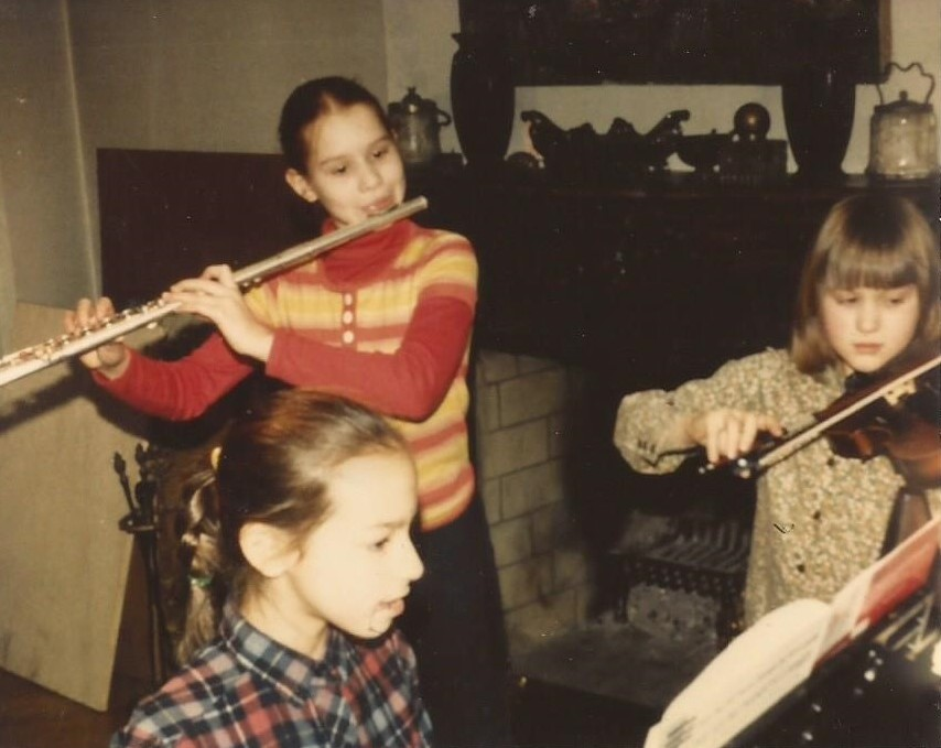 Me at age 11 with my sister Ava, on violin and my best friend - still to this day - Milina, on piano.
