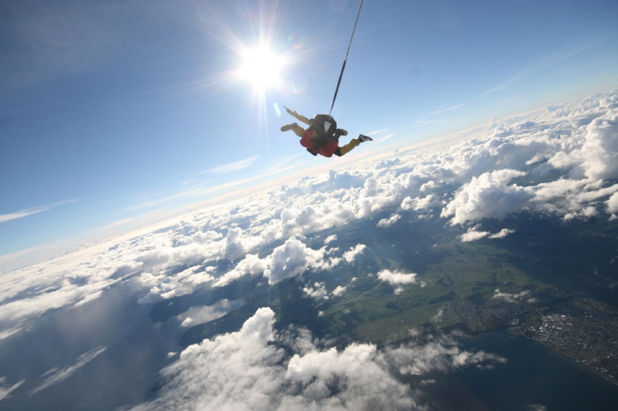 Tandem skydiving over Lake Taupo