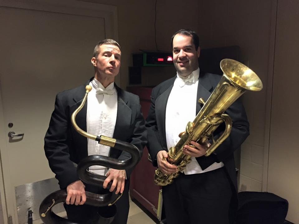 With Steve Dumaine from the NSO, playing serpent (Dumaine) and ophicleide (me) for Berlioz