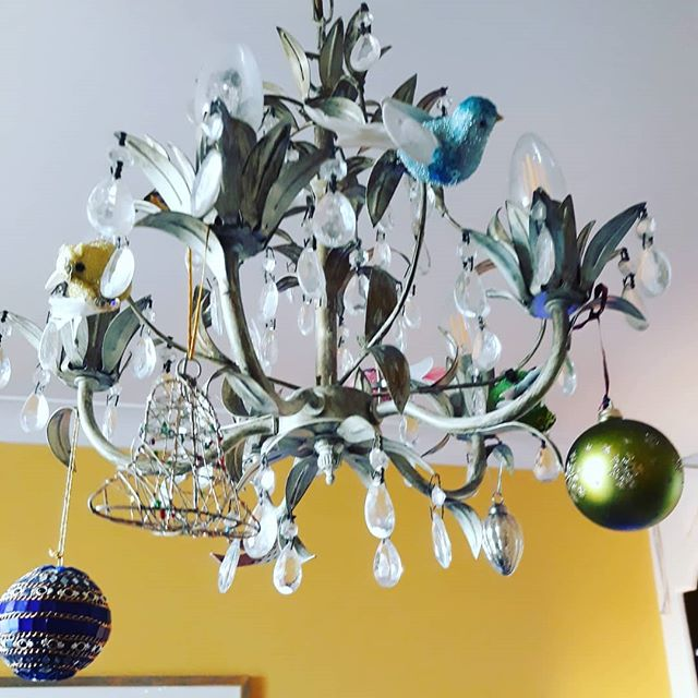 When a chandelier becomes a Christmas tree. #neversaynever