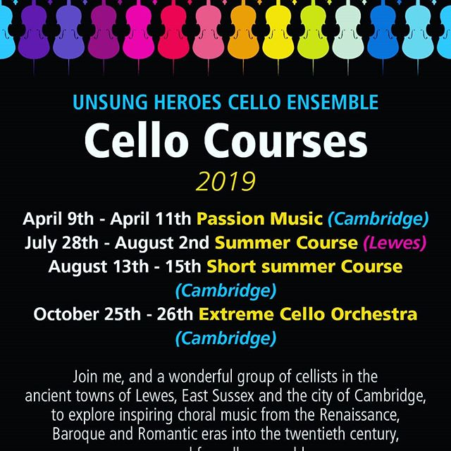 """#CellistsofPassion here you go! 2019 treasures to be found at #unsungheroescelloensemble #courses in the beautiful #Dukedoms of #Lewes UK & #Cambridge. Fabulous new scores include #Stanford #Messiaen, #Gabrieli #Palestrina & #Monteverdi - #music """"from the heart, to the heart"""" #cellocourses #cello #cellist #celloplayer #celloensemble #classicalmusic"""