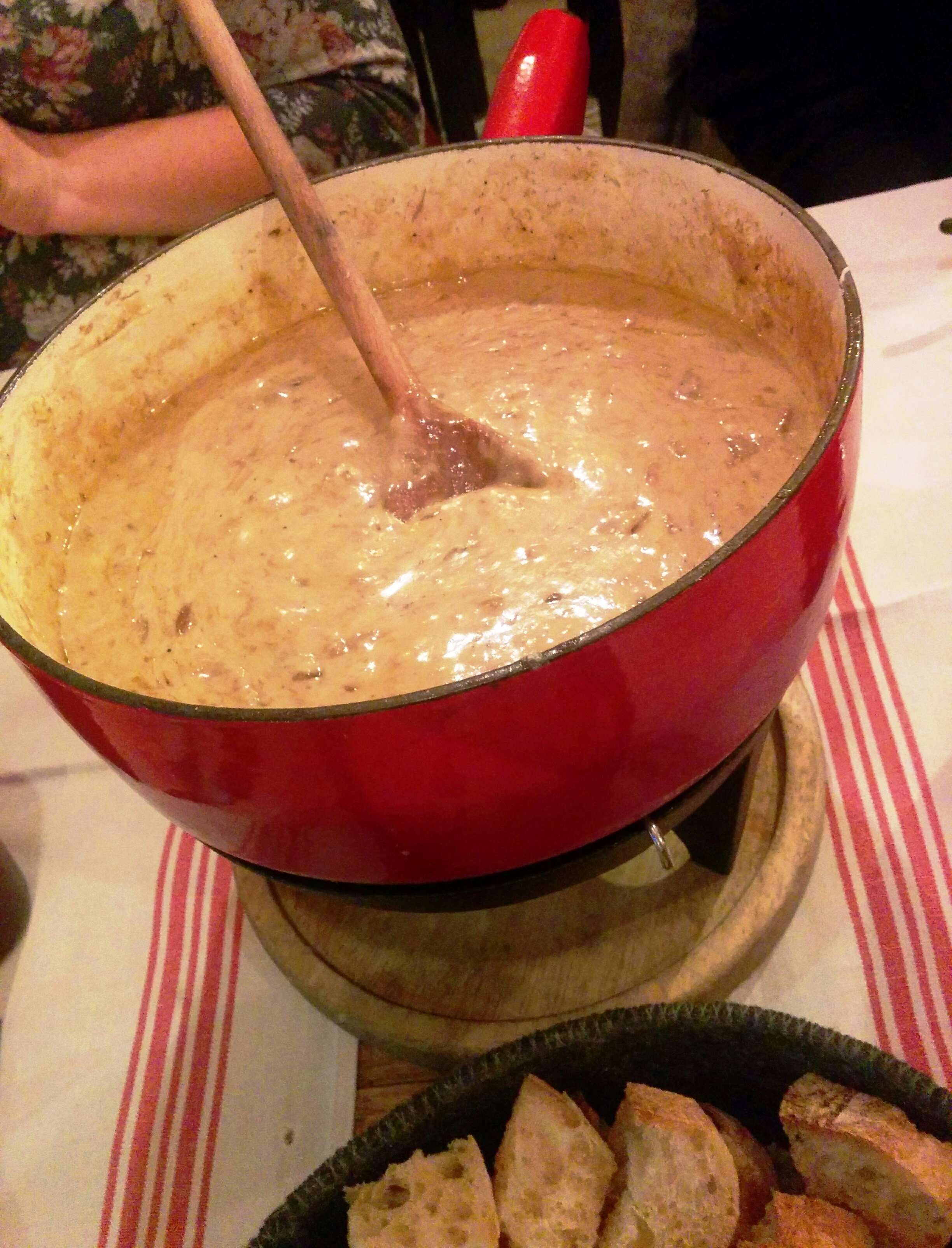 Cheesey, gooey, delicious fondue at our favorite fondue restaurant in Pornichet, the next seaside town over.