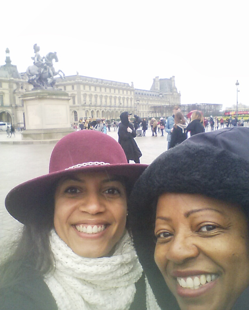 Me and my Auntie Joan posing for a quick shot under the rain, just about to go inside the museum to warm up.
