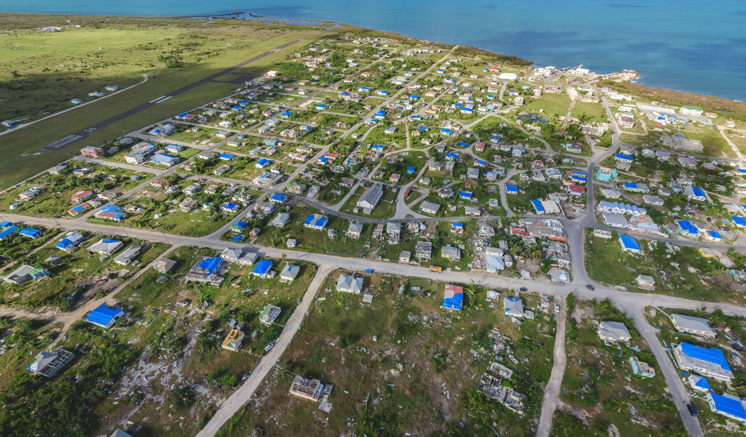 Codrington, Barbuda - A bird's eye view captures evidence of the relief efforts far and wide.