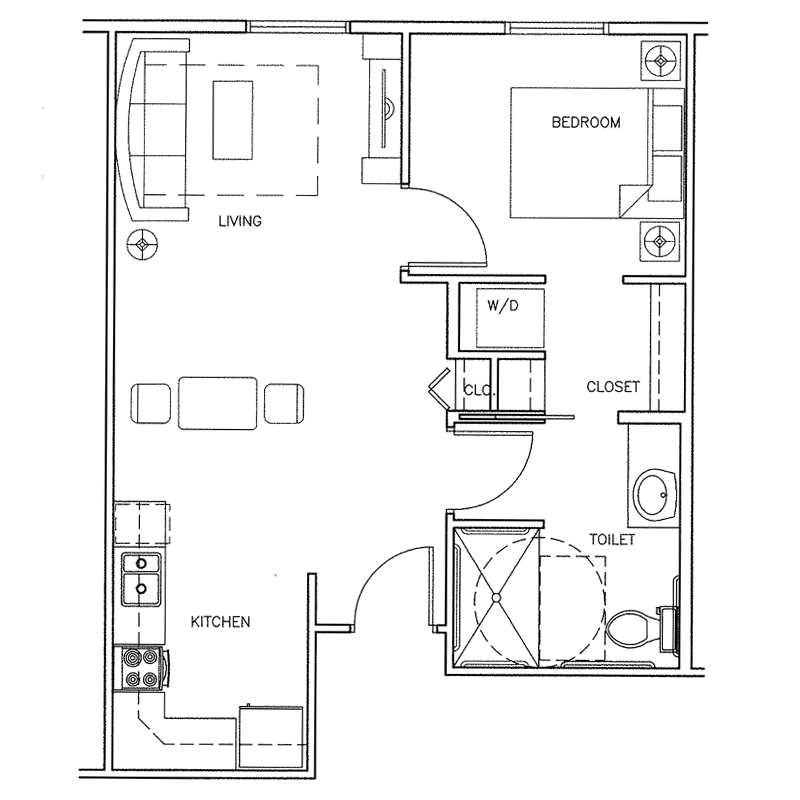 Arcadia | 1 bedroom | 555 Sq. Ft.