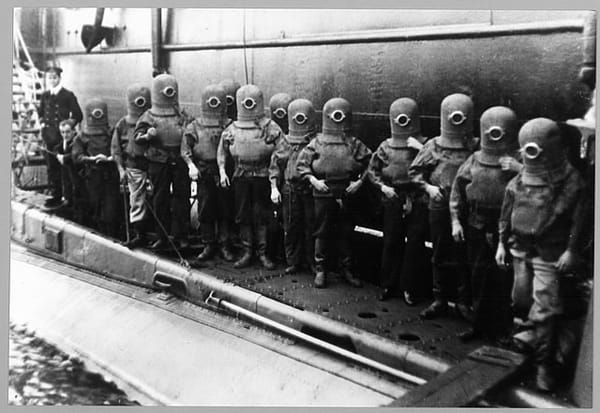 Hall and Rees Submarine escape suits. [Credit: Royal Navy Submarine Museum]
