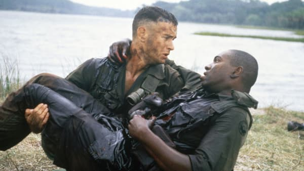 Tom Hanks and Mykelti Williamson in 'Forrest Gump' (1994). [Credit: Paramount Pictures]