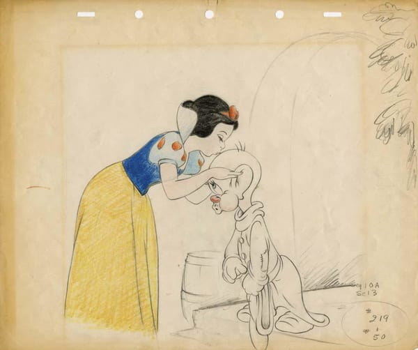 Original drawing of Snow White and Dopey [Source: Walt Disney Productions]