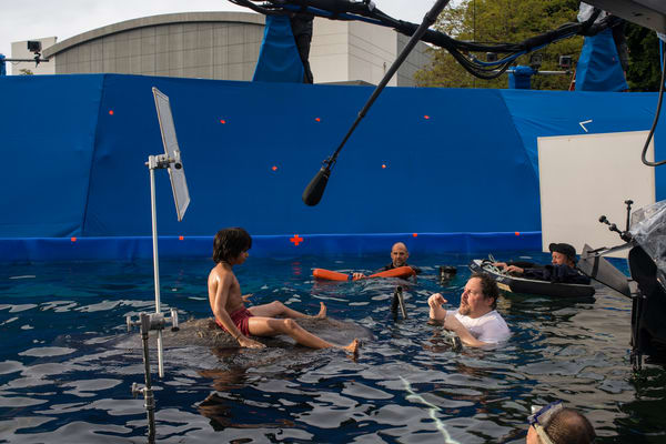 Sethi and Favreau filming a scene for 'The Jungle Book' [Source: Walt Disney Pictures]