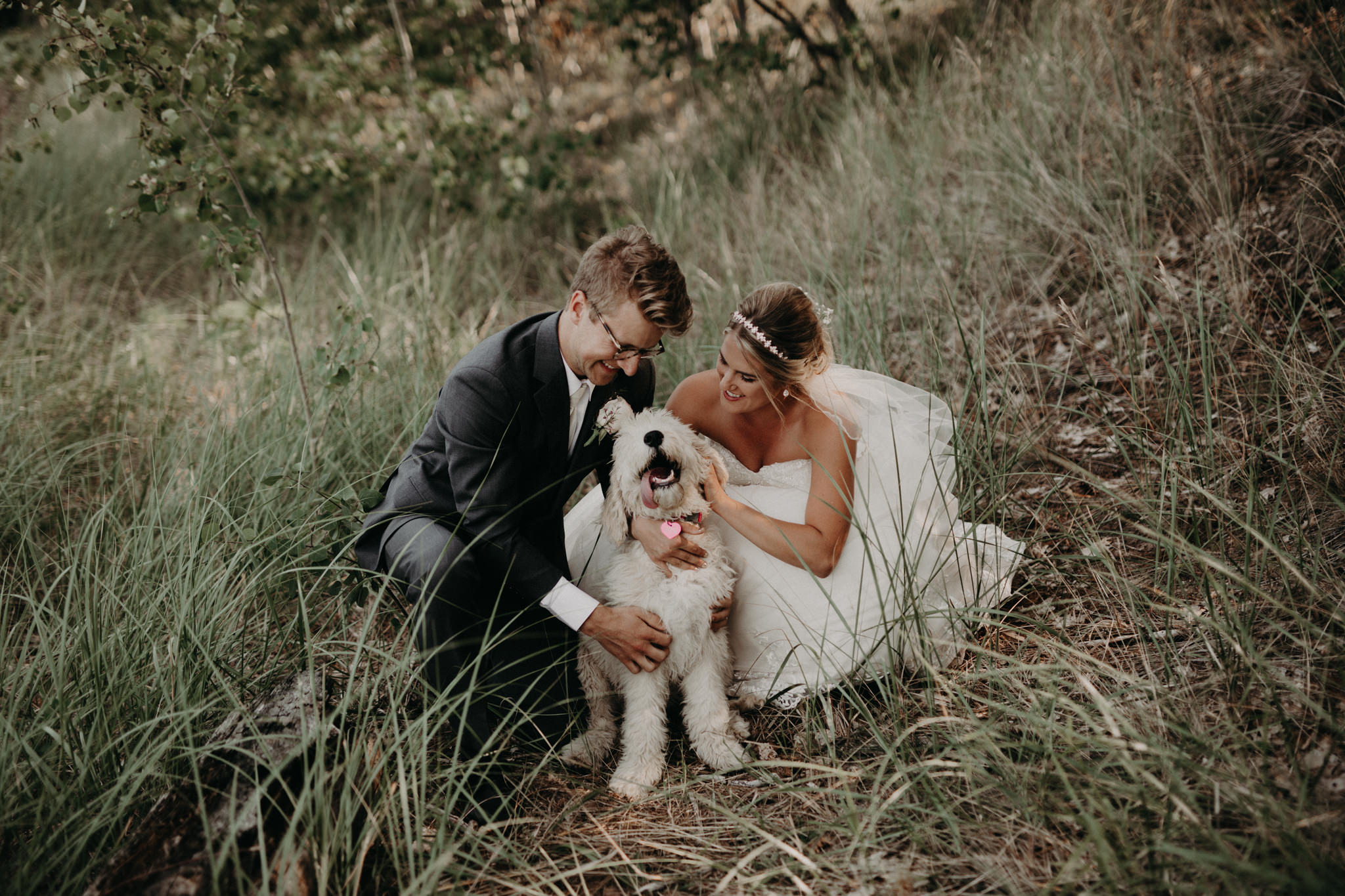 Bride and groom with Goldendoodle at McCarty's Cove
