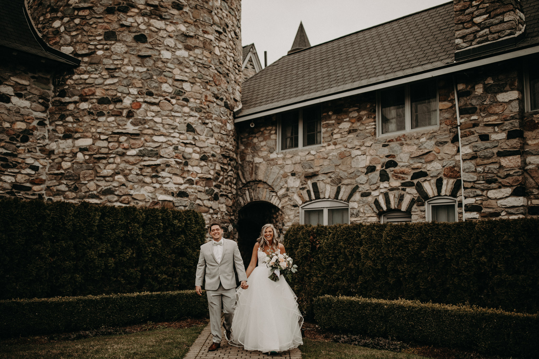 bride and groom first look at castle farms