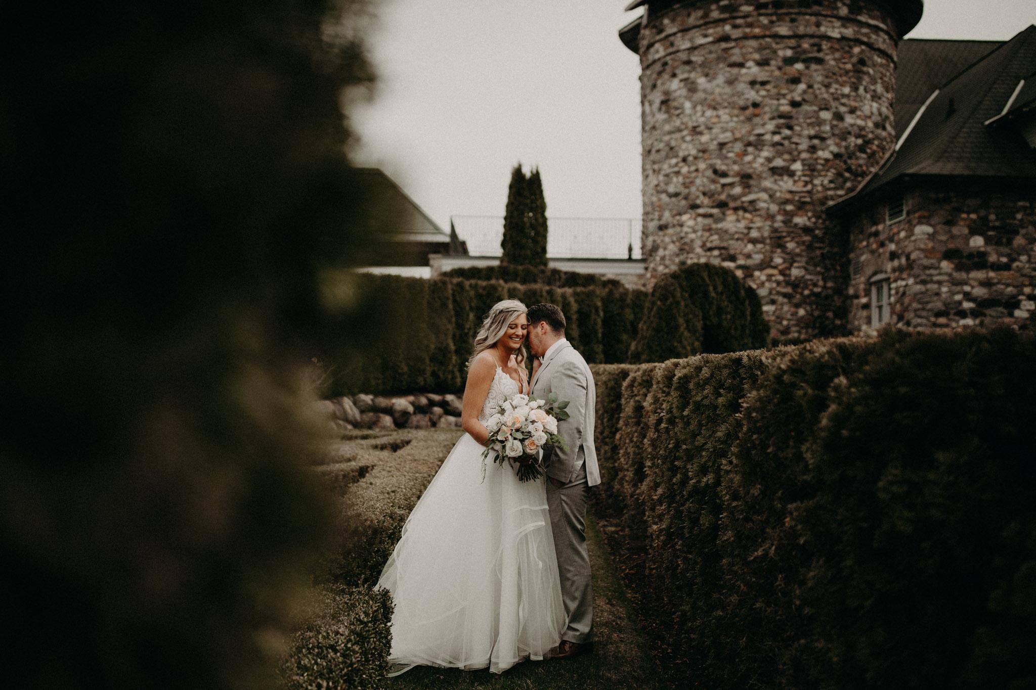 bride and groom in castle farms garden