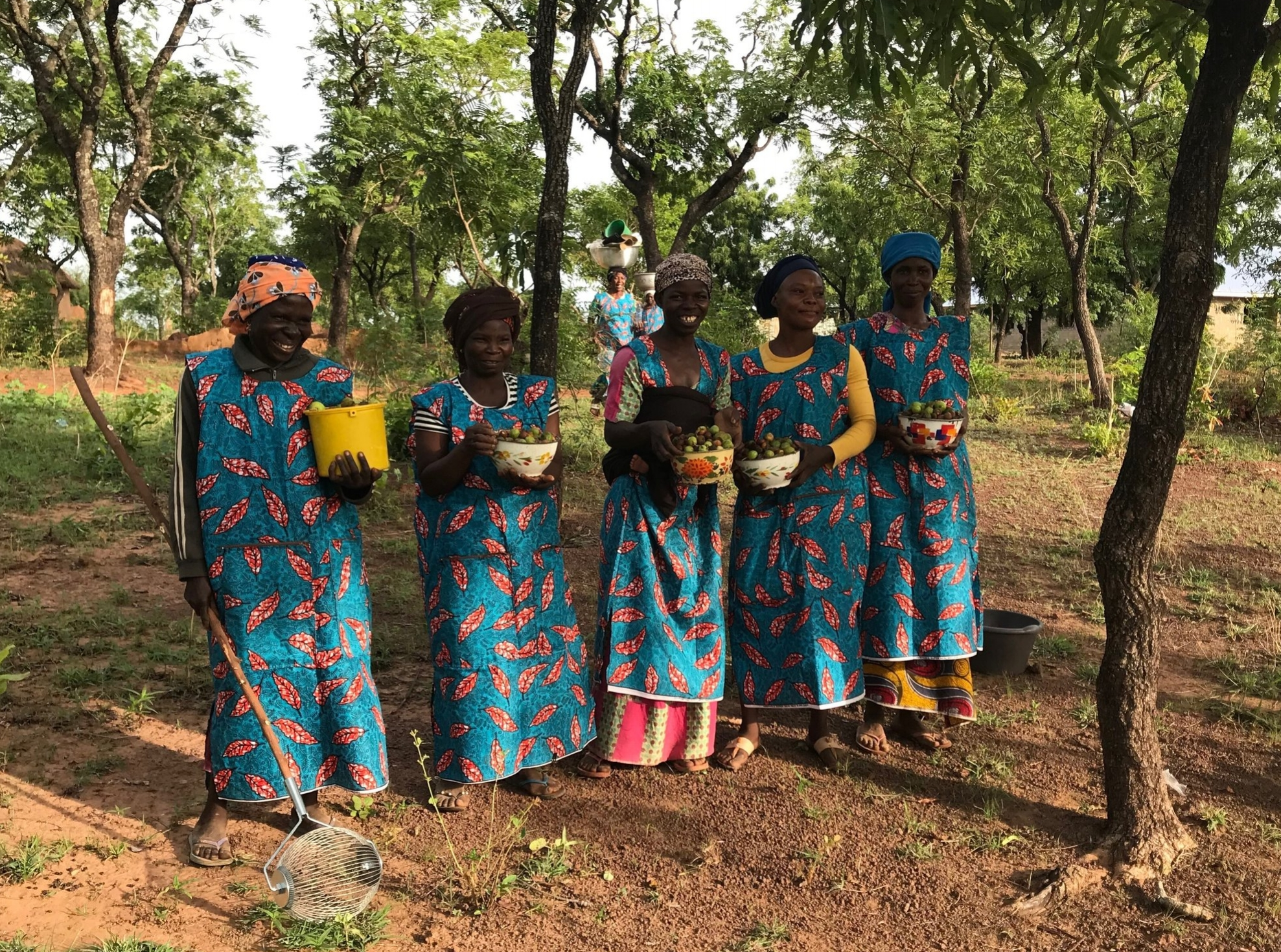 During their visit to Tamale, Ghana, Ann and Brett had the opportunity to walk around this rural community alongside these women to help them individually collect shea fruit, which was then manually processed to extract shea butter.