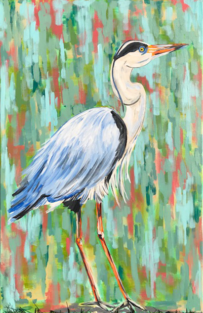 Bird 1 Egret Heron Marian Pouch Find Your Joy Greenville SC Local artist painting acrylic bright color colorful..jpg