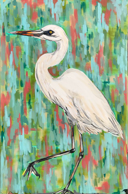Bird  Egret Heron Marian Pouch Find Your Joy Greenville SC Local artist painting acrylic bright color colorful..jpg