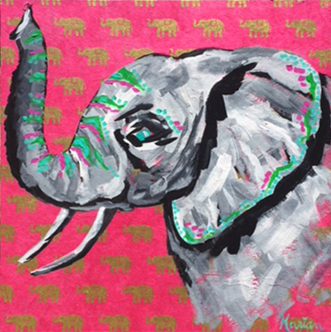 Elephant 2 Marian Pouch Find Your Joy Greenville SC Local artist painting acrylic bright color colorful..jpg