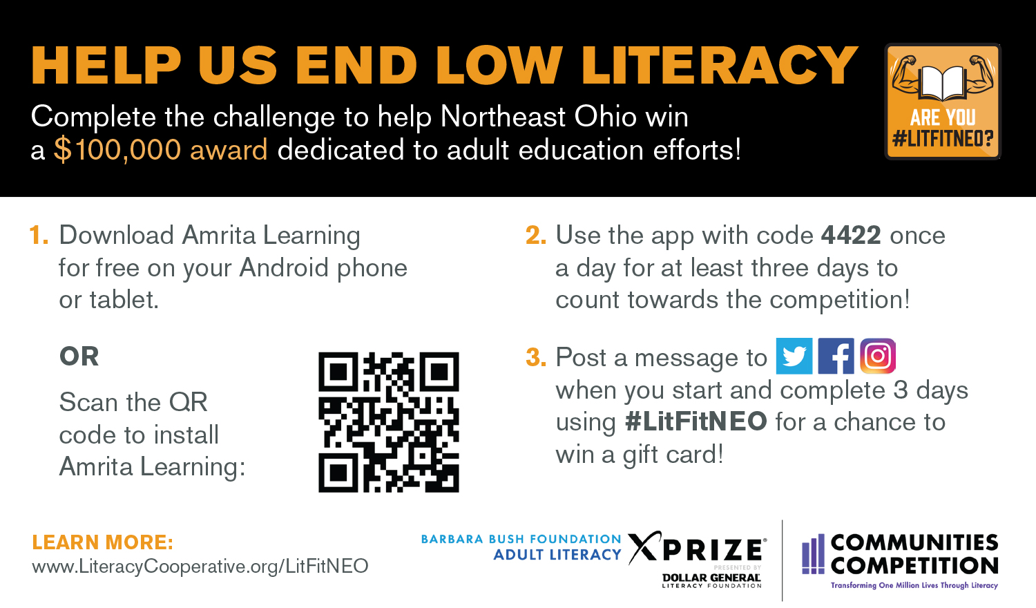 Are You LitFitNEO? - Help our community qualify for a $100,000 award through @XPRIZE that will be used to boost literacy services! Simply download the free Amrita Learning app on your Android phone and test your knowledge for three days. Learn more at http://www.literacycooperative.org/litfitneo/.