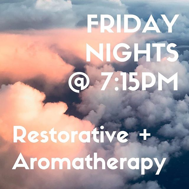 ✨New class alert!✨ . . . . . . . . . . . . . . . . . . . Looking for an alternative to the Friday night bar scene?  Starting this Friday, join me for restorative yoga + aromatherapy at 7:15p at Bend! . . . . . . . . . . . . . . . . . . . Top off your work week with an hour of deep relaxation & self-care and head into the weekend feeling refreshed.  Hope to see you there! 💕