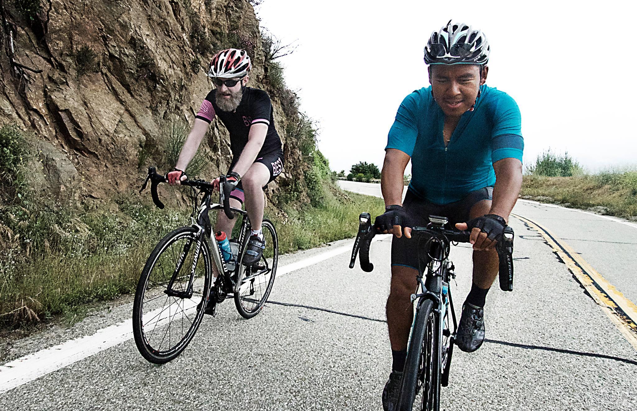 "Brennen with his new cycling ""brother"" Ignacio (Nacho) Pino, who helped him climb Mt. Baldy in LA."