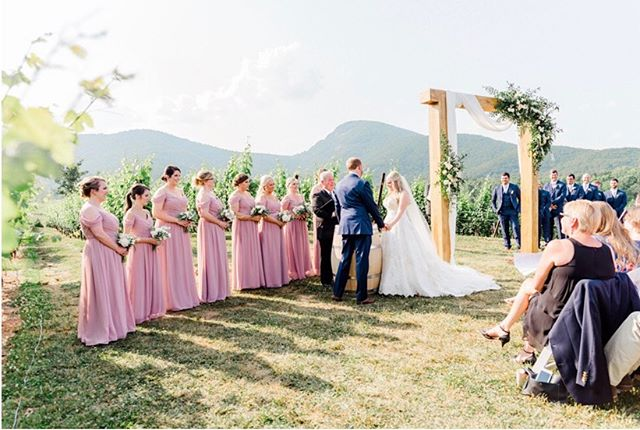 We have been enjoying some much needed R&R after an incredibly fun, but busy summer wedding line up! So I've been catching up on things and looking through some amazing client galleries from early summer weddings! We loved @laurenshankla ceremony set up with this @ccollectif arbor☺️ What's better than a romantic ceremony tucked in the vineyard with surrounding Mountain View's😍?! . . #vineyardwedding #weddings #weddingarch #weddingceremonydecor #weddingceremony #outdoorweddings #weddinginspiration #mountainwedding #weddingideas #weddingarbor #weddingflowers #bouquet #weddingparty #floraldesign #summerwedding #blushwedding #southernweddings #herecomesthebride