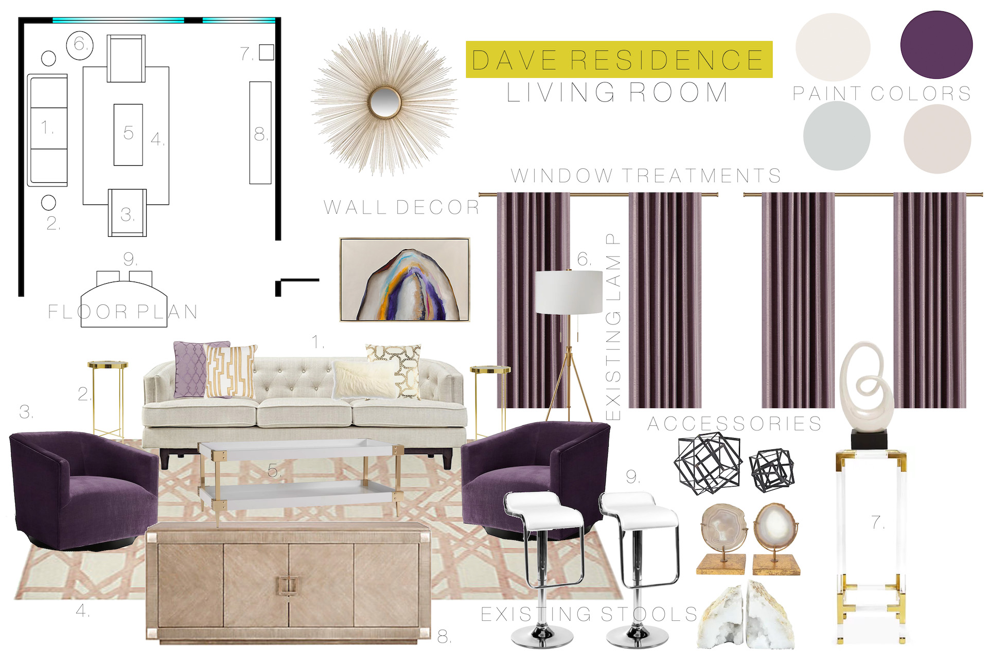 Client Mood Board with Furniture Plan
