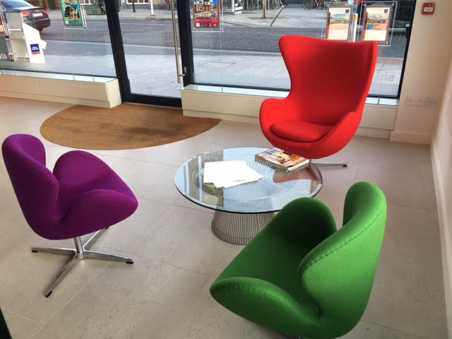 Sherry FitzGerald  estate agents are now featuring our Arne Jacobsen-style egg and swan chairs in their newly renovated Ballsbridge head office and throughout their stores nationwide.